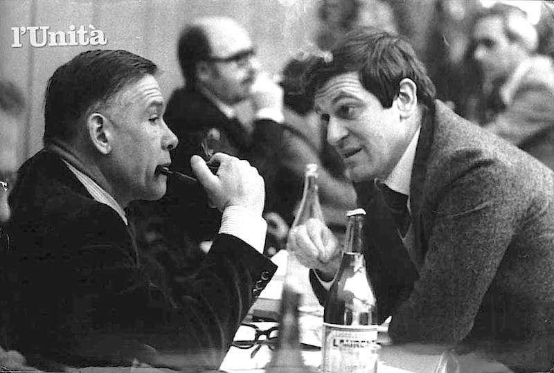Bruno Trentin (a sinistra) e Giorgio Benvenuto, i due leader sindacali che animano la riflessione sul ruolo del sindacato dopo la sconfitta alla Fiat.