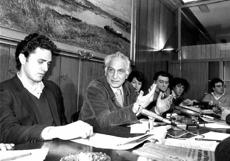 Marco Pannella (al centro nella foto), rieletto segretario del Partito radicale il 26 ottobre 1981.