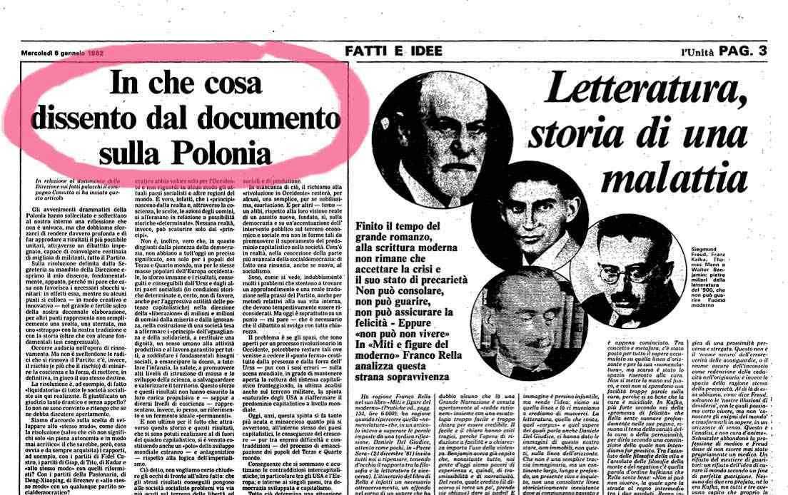 L'articolo di Armando Cossutta apparso su l'Unità del 6 gennaio 1982, che esprimeva il suo dissenso dalla risoluzione del Pci sulla Polonia.