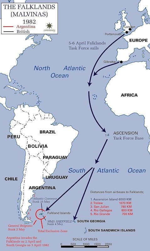 Scenario della guerra anglo-argentina per la contesa delle isole Falkland-Malvinas nel 1982.