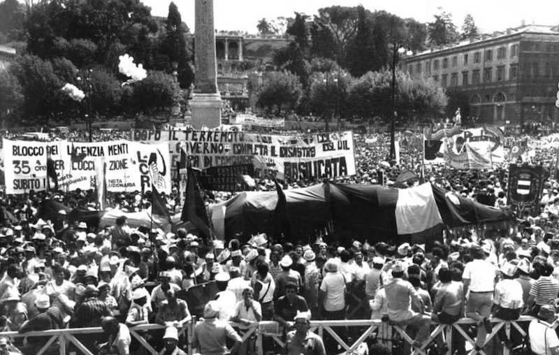 La manifestazione a Roma del 25 giugno 1982 per lo sciopero nazionale in difesa della scala mobile