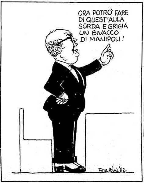 La vignetta di Forattini che prende di mira Craxi per il ruolo giocato nella caduta del II governo Spadolini.