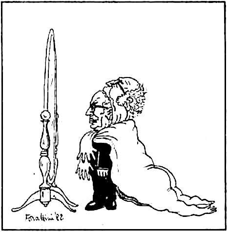 Vignetta di Forattini sull'incarico a Fanfani del 16 novembre 1982.