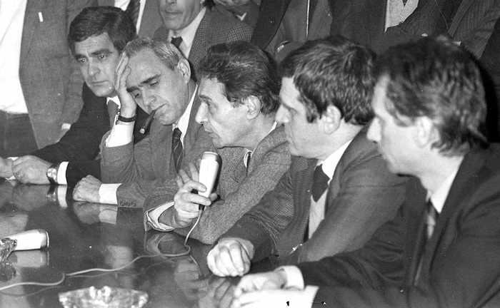 La delegazione dei sindacati confederali che hanno siglato l'accordo per la scala mobile del 22 gennaio 1983.