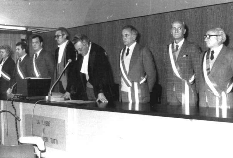 La corte durante la lettura della sentenza al processo Moro del 24 gennaio 1983.