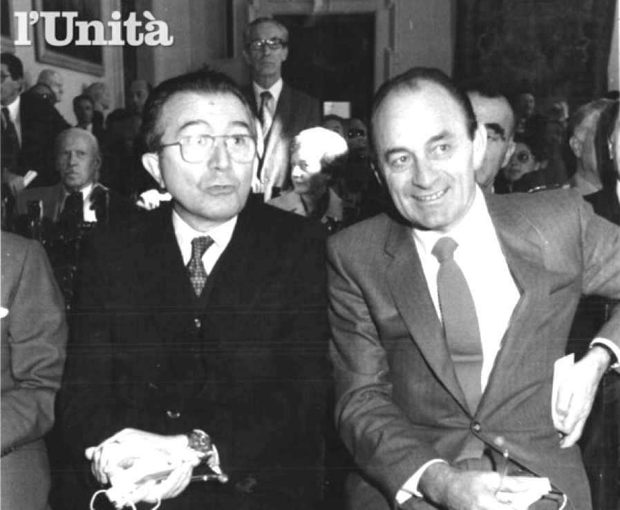 Franco Nicolazzi (Psdi) con Giulio Andreotti nel 1988.