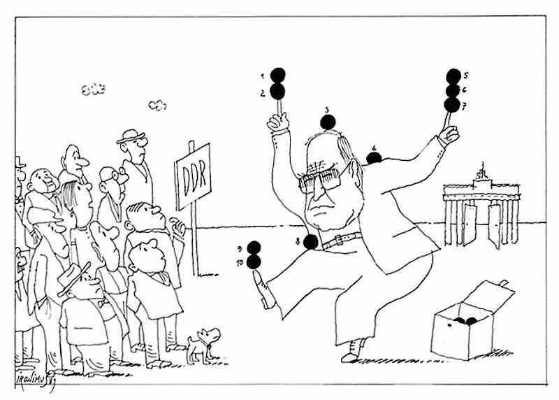 """Vignetta apparsa sul giornale austriaco """"Die presse"""" che ironizza sul piano in 10 punti di Helmut Kohl."""