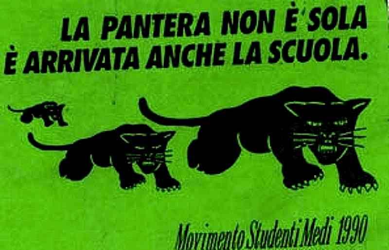 """Manifesto del movimento studentesco della """"pantera"""" nel gennaio 1990."""