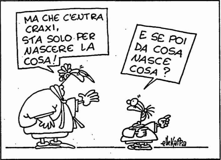 """Vignetta di Ellekappa su l'Unità del 7 marzo 1990, che ironizza su """"la cosa"""" che nascerà dal XIX congresso."""