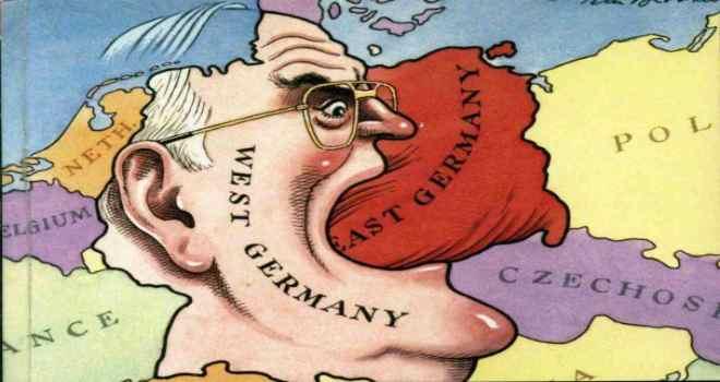 """Vignetta satirica sulla """"voracità"""" del cancelliere Kohl."""