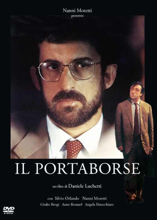 """Locandina del film """"Il portaborse"""" di Luchetti, uscito nelle sale il 5 aprile 1991."""