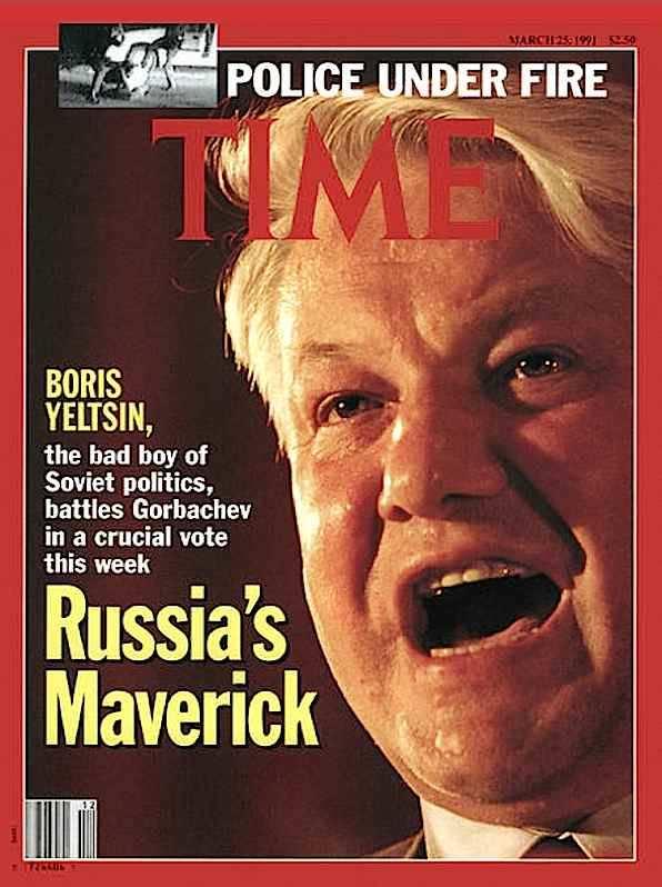 La copertina di Time dedicata a Boris Eltsin, eletto presidente della Repubblica russa il 12 giugno 1991.