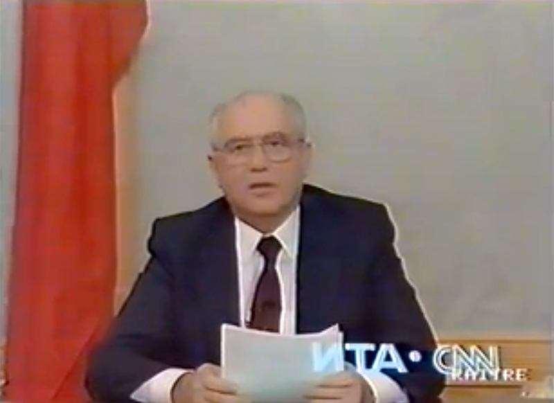 Il 25 dicembre 1991 Mikhail Gorbaciov annuncia in televisione le sue dimissioni del Presidente dell'Unione sovietica.