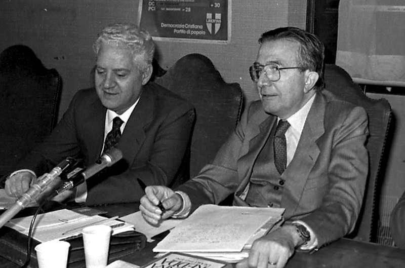 Salvo Lima (a sinistra) con Giulio Andreotti, di cui era luogotenente in Sicilia.