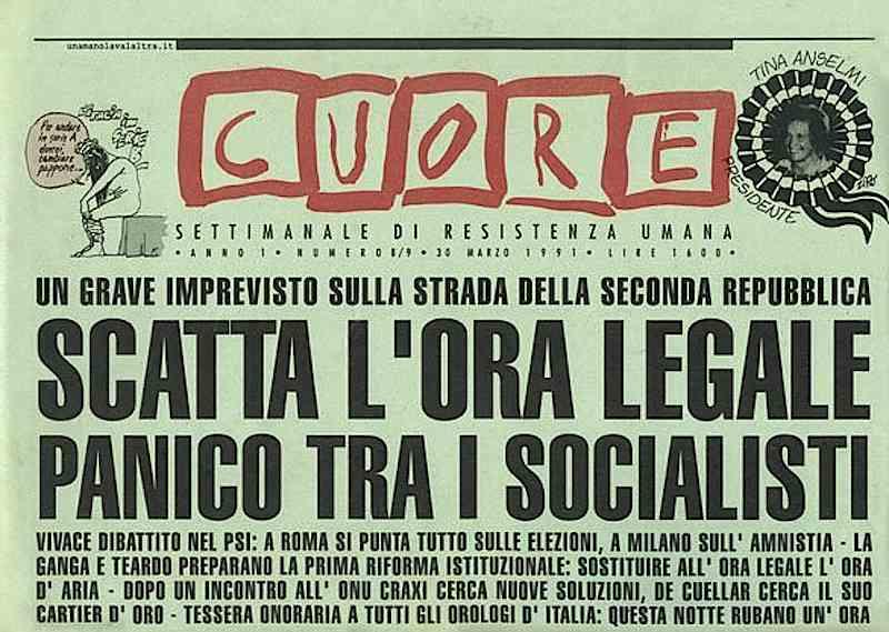 La rivista satirica Cuore, distribuita con l'Unità.