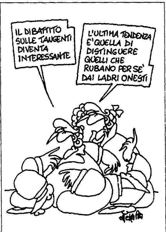 Vignetta di Ellekappa su l'Unità del 9 luglio 1992.
