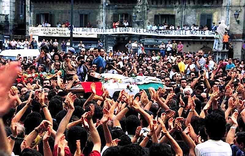 I funerali di Paolo Borsellino a Palermo.