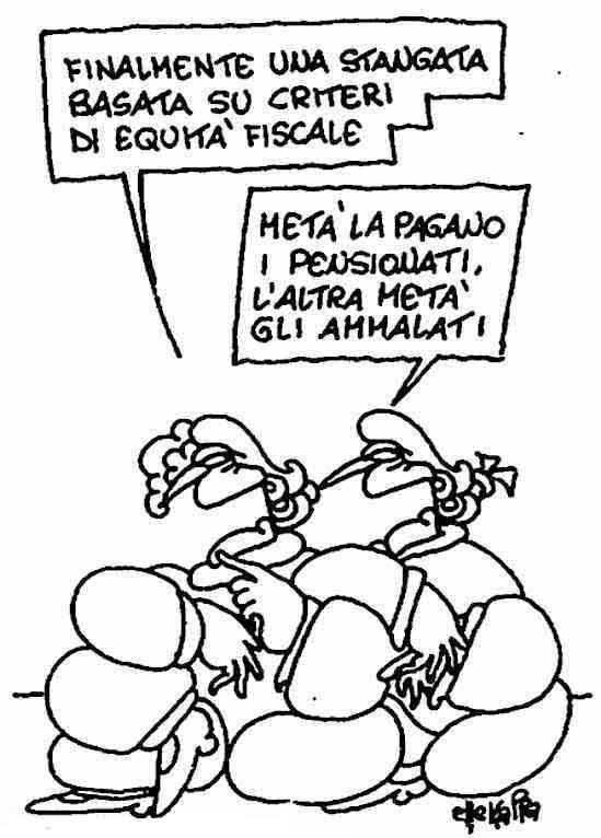 Vignetta di Ellekappa da l'Unità del17 settembre 1992.