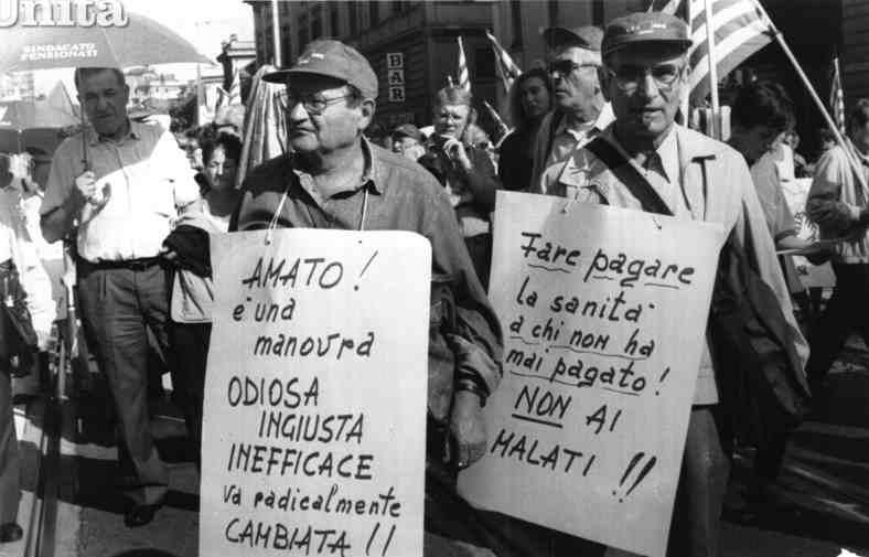 Manifestazione sindacale del 2 ottobre 1992 contro la manovra del governo Amato.