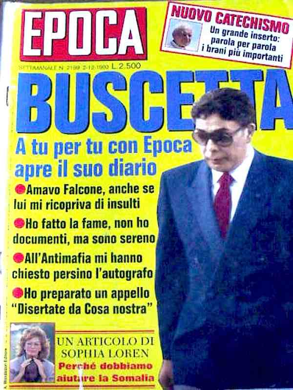 La copertina di Epoca del 1992 dedicata al pentito di mafia Tommaso Buscetta.