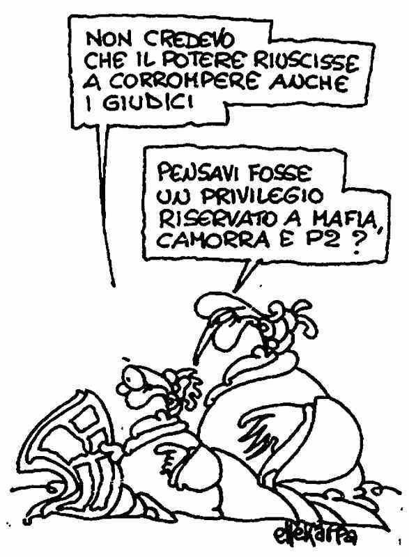 Vignetta di Ellekappa apparsa su l'Unità del 4 settembre 1993.