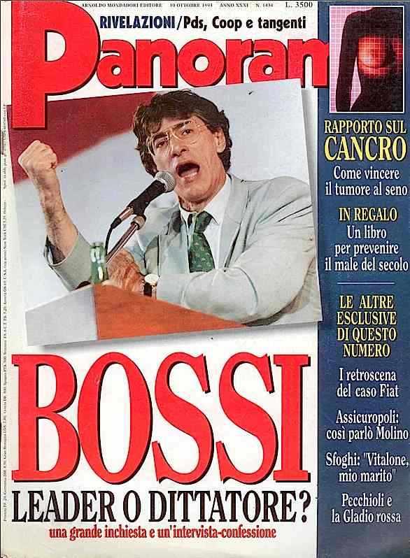La copertina di Panorama dell'ottobre 1993 dedicata al leader della Lega Umberto Bossi.