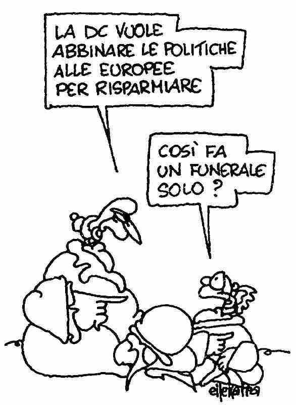 Vignetta di Ellekappa da l'Unità del 13 gennaio 1994.