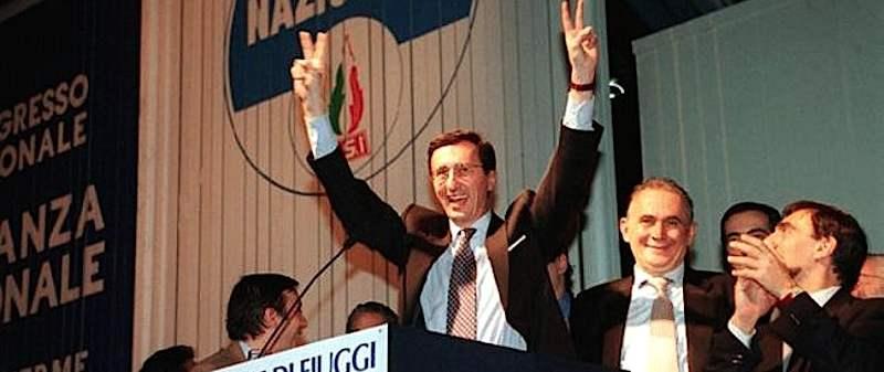 Fini appena eletto segretario di Alleanza nazionale nata al congresso di Fiuggi del gennaio 1994.