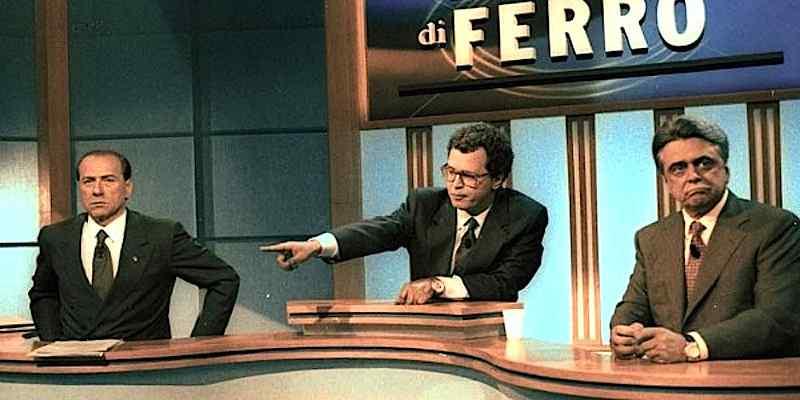 Confronto tv tra Berlusconi e Occhetto nella campagna elettorale 1994.