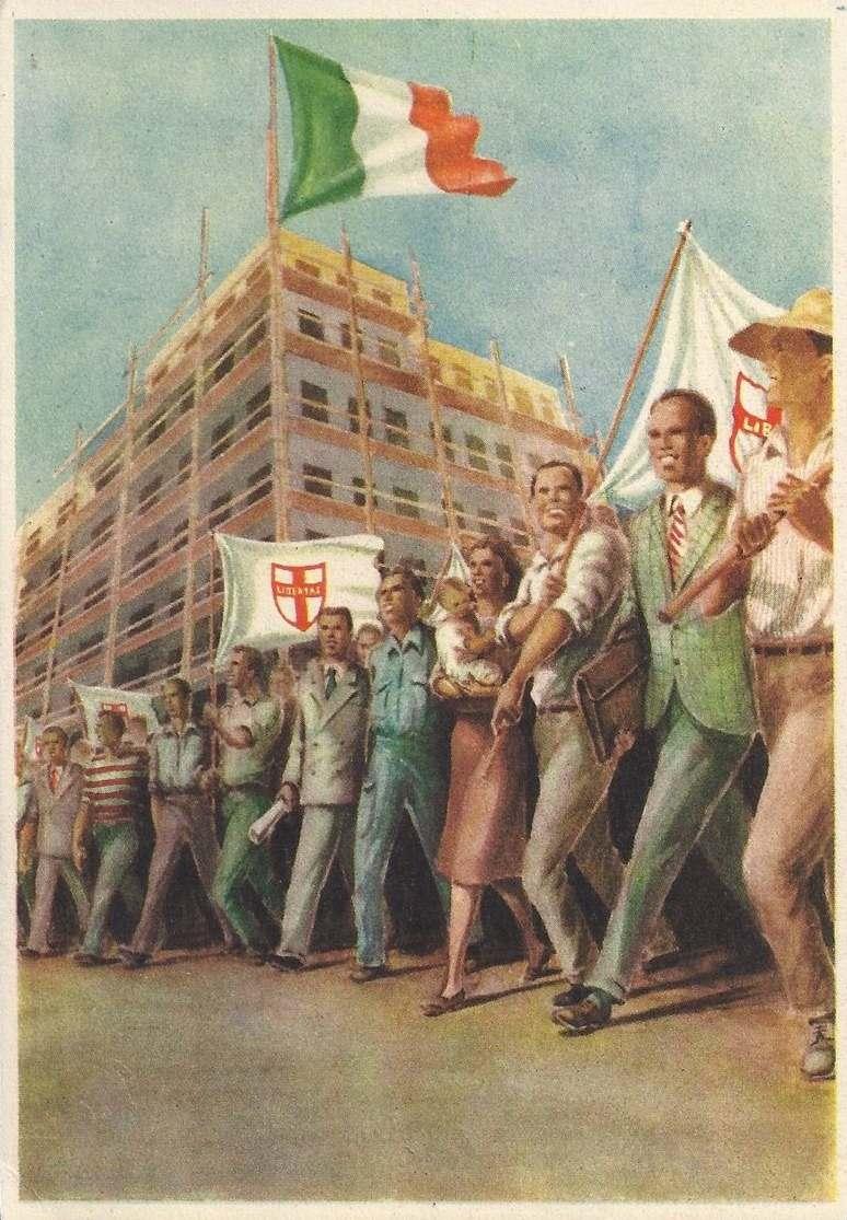 Cartolina postale distribuita ai congressisti di Napoli.