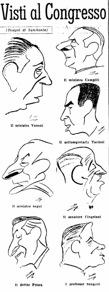 Caricature di personaggi del congresso apparse sul Popolo.