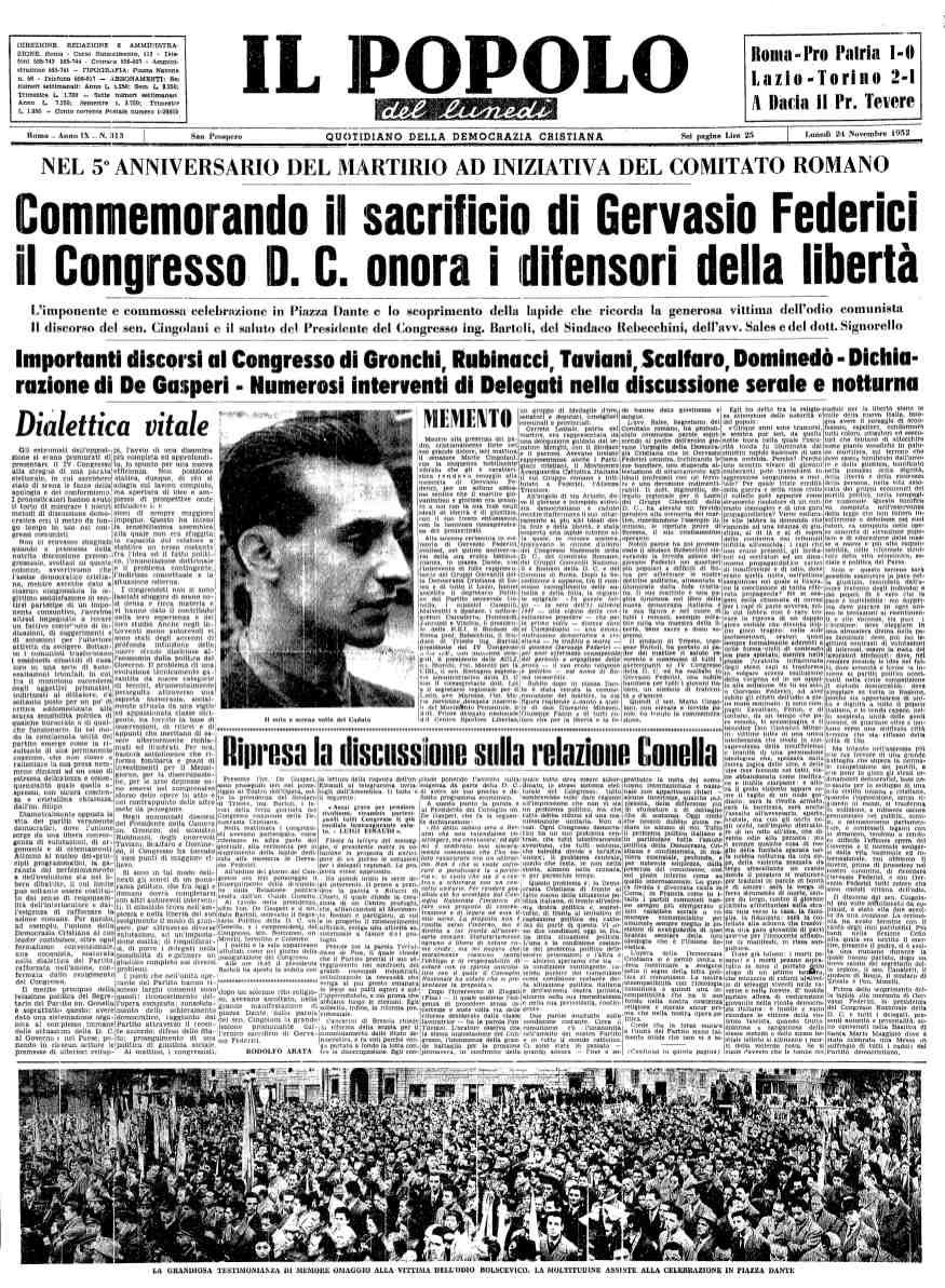 Il Popolo apre sul congresso commemorando Gervasio Federici.