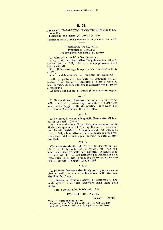 Il decreto luogotenenziale n° 23, che estende il voto alle donne.